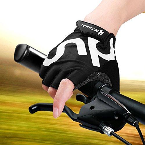 Fahrrad Handschuhe Fingerlos Schwarz Fitness SBR Gepolsterte Unisex Sport Gloves für Krafttraining Gewichtheben XXL by KONVINIT - 3