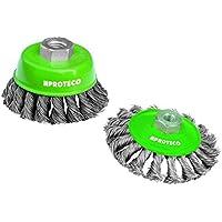Proteco-Werkzeug® Edelstahldraht Drahtbürste rostfrei Set 2 tlg für Einhand Winkelschleifer V2A Inox Topfbürste Kegelbürste Gewinde M14 x 2,0 Edelstahldraht 0,35 mm