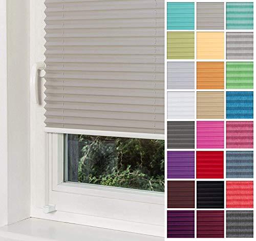 Home-Vision Premium Plissee Faltrollo ohne Bohren mit Klemmträger / -fix (Grau, B40cm x H150cm) Blickdicht Sonnenschutz Jalousie für Fenster & Tür