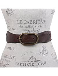 """2""""de ancho tejido trenzado de cintura alta Full Grain cinturón de cuero"""