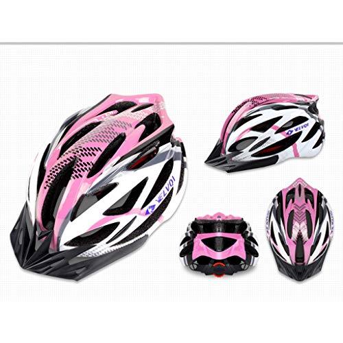 JiaoLiao Fahrradhelm Integrierter Fahrradhelm Mountainbike Helm Männer Und Frauen Helm Helm Hohe Dichte EPS (Farbe : Spotted pink)