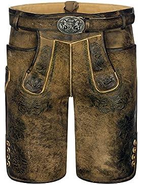 ALMBOCK Lederhose Herren | Kurze Lederhose Wildbock (100% Wildleder) | Trachtenhose Herren braun used in Gr. 46-58