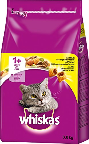 Whiskas Katzenfutter Trockenfutter Adult 1+ mit Huhn, 1 Beutel (1 x 3,8 kg)