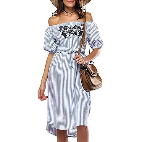 Lmmvp pour femme Épaules ajourées Bandeau peindre Mini Smock Dress M bleu