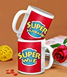 TIED RIBBONS Gifts for Newly Married Couple Super Husband, Super Wife Printed Coffee Mug Combo(325ml,White)