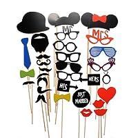 Photobooth mariage 38 pièces - accessoires de mariage pour photos originales (Moustache, chapeau, lunettes, ...)