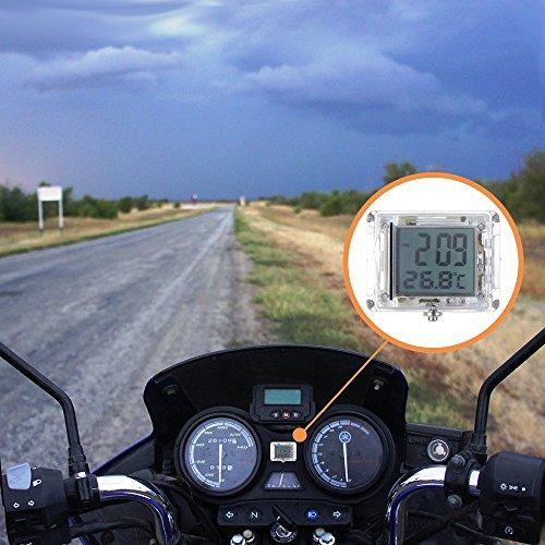 """FORNORM Autouhr Digital Beleuchtet Uhr Fahrrad, Motorrad Uhren Wasserdicht, Uhren Batterien mit 12h Format Zeit und Temperaturanzeige für Auto Fahrrad, 3M sticker, 1.4 * 1.2 * 0.4"""" (D*H)"""