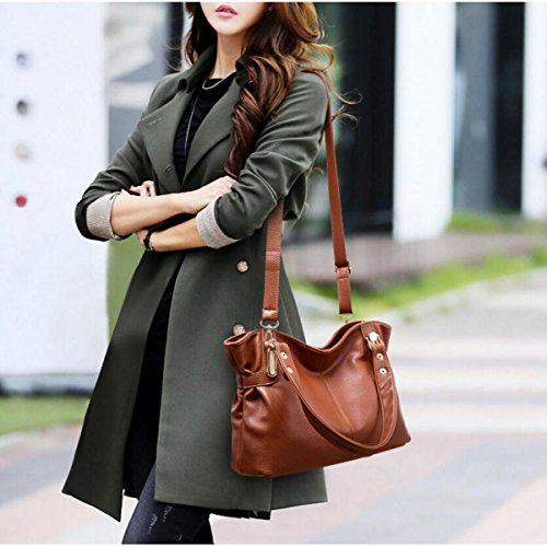 Dame Temperament Litschi Muster Schultertasche Diagonal Handtasche Lässig Große Tasche Brown