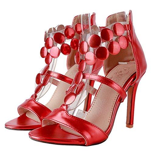 AIYOUMEI Damen T-spangen Stiletto High Heel Hochzeit Sandalen mit 10cm Absatz und Reißverschluss Elegant Modern Pumps Schuhe Rot