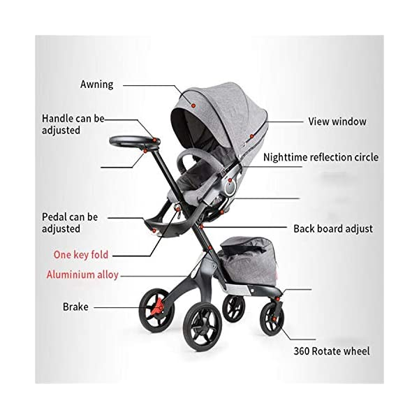 BABIFIS Baby Stroller High Landscape Can Sit Reclining Foldable Reversible Baby Four-wheeler Stroller E BABIFIS 75CM high landscape, two-way adjustment, SUV-level suspension, multi-turn adjustment, away from the car exhaust, breathing fresh air Height-adjustable, no need to change chairs, and easy to eat in parallel with most dining tables As a two-way adjustment, two orientations towards three seats, two-way implementation,Sleeping basket can be carried independently, 0-6 months baby's comfortable cot 7