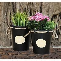 Benna Style Set di 2 Black Fioriere con juta corda Un manipolo pianta del fiore basamento di Iron Pot per Outdoor Indoor Uso giardino domestico Decor Accessori