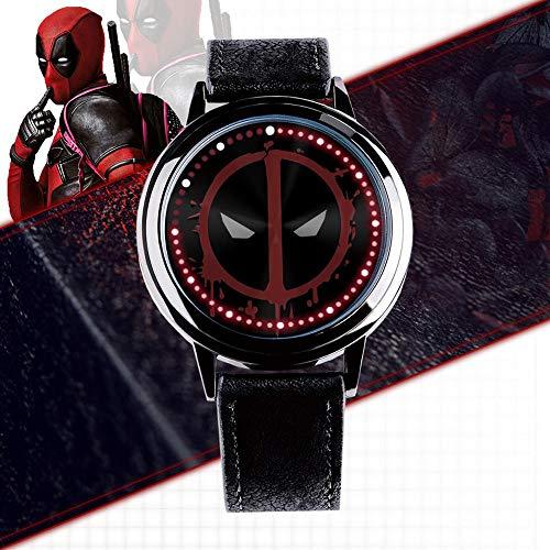 Action Figures Deadpool Led Touchscreen Uhr, Avengers 4 Wasserdicht Elektronische Uhr Runde Uhr Geschenk A