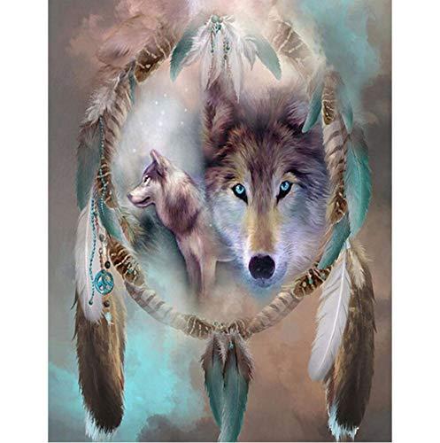 DIY sin marco animal lobo atrapasueños pintura digital arte foto digital decoración pintura decoración del hogar regalo 40x50 cm
