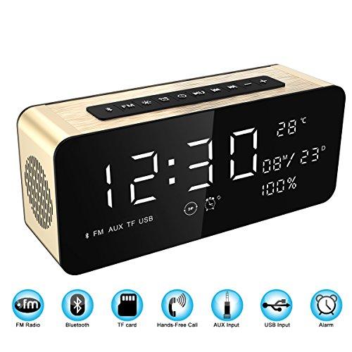 Soundance Großer Bildschirm Radio Wecker Bluetooth Lautsprecher mit Premium HD Sound & Big LED Bildschirm für Zeit / Datum / Temperatur, 3,5 mm Aux / Micro SD / TF / - Zyklus-sound-lautsprecher