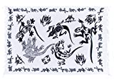 Ciffre Sarong Pareo Wickelrock Strandtuch Handtuch Wickelkleid Strandkleid Schal ca. 170cm x 110cm Gecko Design Weiß