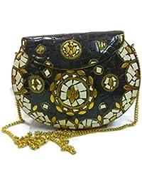 Black Stone Mosaic Clutch Purse Handmade Stylish Ethnic Metal Clutch Cum Sling Bag