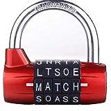 Serrure de casier de gymnastique, cadenas de sécurité robuste avec mot de passe, 5 lettres (rouge)