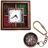 Little India Wooden Wall Clock and Brass...