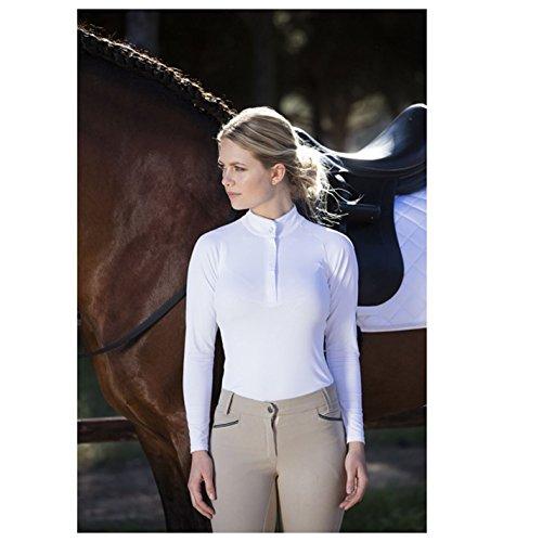- Knopf-manschette Bluse Aus Seide (Horseware Damen Sara Turnierbluse Langarm Reitsport Turnier Shirt Bluse Weiss 16 (XL))