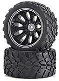 Carson 500900049 - 1:10 Reifen/Felgen-Set Truggy, Modellbauzubehör, 2 Stück, schwarz