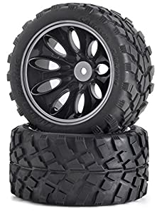 Carson 500900049 - 1:10 neumático / llanta Set Truggy, Accesorios Modelo, 2 Piezas, Negro