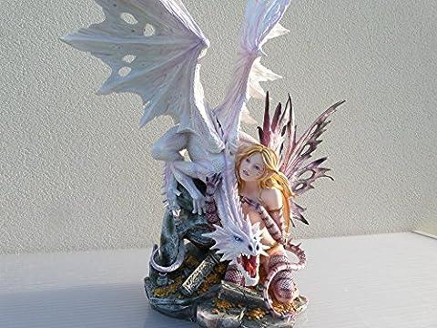 Fee moitié dragon et dragon blanc geant - statuette figurine fée dragon