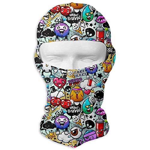 Wfispiy Neck Hood Full Face Mask Hat Sunscreen Breathable Quick Drying Bizarre Elements Characters Men Women -