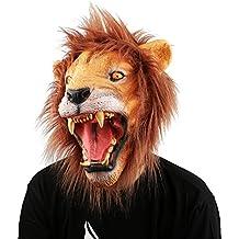 XIAO MO GU Máscara de la Cabeza de Animal León, Máscara del Látex de la Decoración de Halloween de Disfraces para los Adultos y Niños