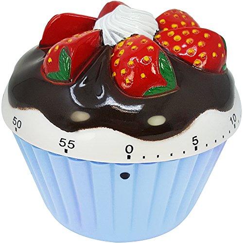 com-four® Kurzzeitwecker im hübschen Cupcake Design, bis 60 Minuten, Eieruhr, Timer aus Kunststoff blau ca. 7 x 7 x 4 cm (01 Stück - blau)