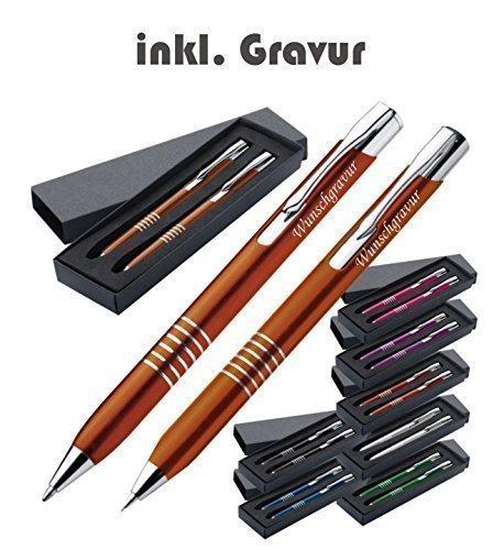 Exklusives Kugelschreiber Set aus Metall inkl. Gravur graviert Kugelschreiber und Druckbleistift mit...