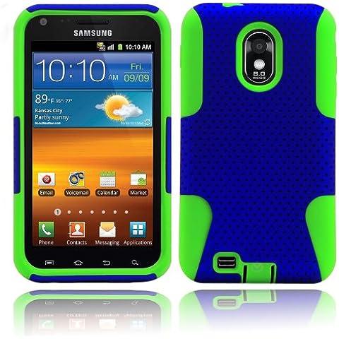 Ibrido 2-in-1 combinazione duro del PC in rete plastica e silicone per Samsung Epic Touch 4 G D710/Sprint, BASTEX pellicola protettiva per lo schermo, verde e blu