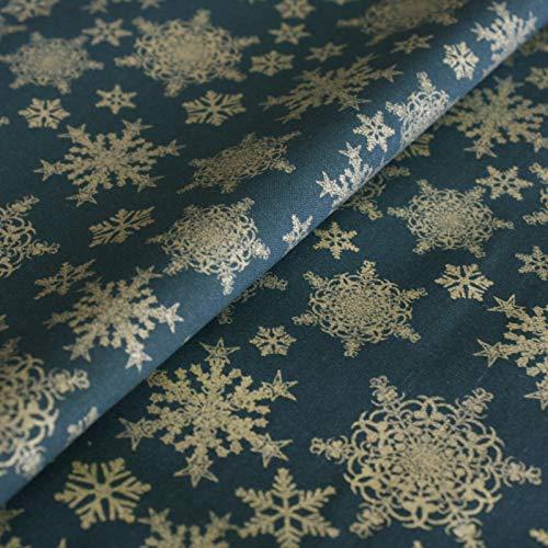 Hans-Textil-Shop Stoff Meterware Sterne Gold auf Grün, Baumwolle - 1 Meter