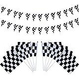 Hestya 40 Stück Karierten Rennen Flaggen mit Kunststoff Sticks und 24,6 Fuß Karierten Wimpel Fahnen Banner für Geburtstag Rennen Motto Party Sportveranstaltungen
