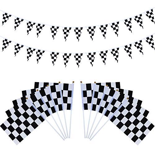 Hestya 40 Stück Karierten Rennen Flaggen mit Kunststoff Sticks und 27,9 Fuß Karierten Wimpel Fahnen Banner für Geburtstag Rennen Motto Party Sportveranstaltungen