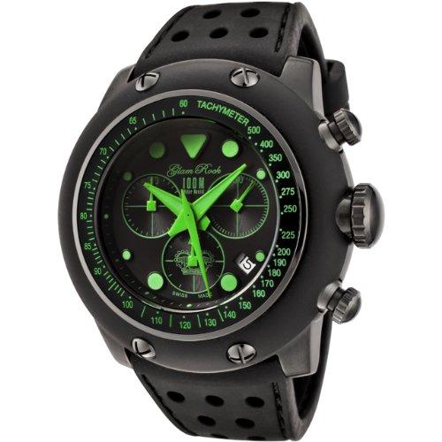 Glam Rock GR90109 - Reloj cronógrafo de cuarzo para hombre con correa de caucho, color negro