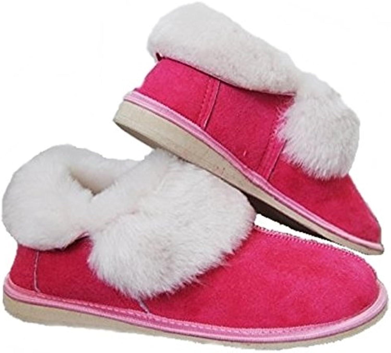 Venta. Ladie de, Natural, cálido y bonito. Lana de oveja botas de cuero unisex rosa zapatillas (US 8.5, EUR 39)