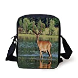 Ytavv Deer Decor,Cute Mountain Deer in the Water with a Forest Background Male Mammal...