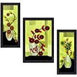 JSOnline 3 Piece Set Of Framed Wall Hanging Art Prints Paintings || 3 Piece Set Of Framed Flower || Flora || Pot Wall Hanging Art Prints Paintings With UV Digital Mate Textured With Synthetic Wood Frame.