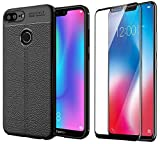 """RidivishN Honor 9N Back Cover Case / """"360 Degree"""" Protection Ultra-Slim Rubberised Rugged Flexible Back Cover for Honor 9 n (COMBO PACK) 2.5D Curved Edge to edge Tempered glass for honor 9n - (Black Flexible Case & Black Tempered)"""