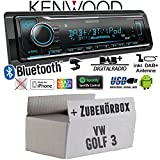 VW Golf 3 III - Autoradio Radio Kenwood KMM-BT504DAB - DAB+ | Bluetooth | iPhone/Android | Spotify | VarioColor - Einbauzubehör - Einbauset