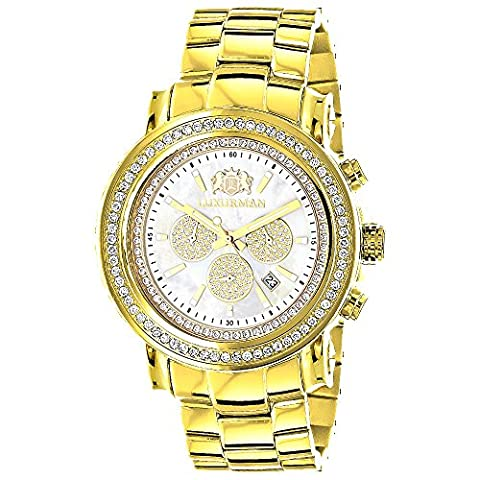 Large Diamond Bezel Watch for Men Yellow Gold Plated with Chronograph 2.5c LUXURMAN Escalade