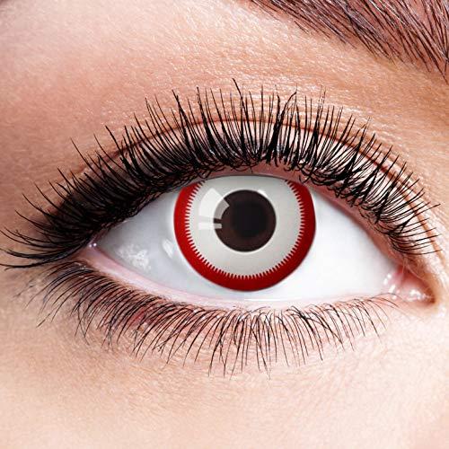 n Rot Weiß Ohne Stärke Motiv Eye Linsen Halloween Karneval Fasching Cosplay Kostüm Red White Eyes Weiße Rote Augen Zombie Blut Vampir Volturi ()