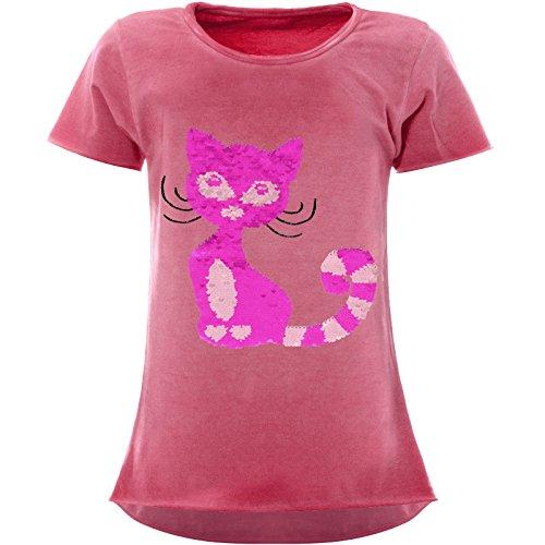 BEZLIT Mädchen Wende-Pailletten T-Shirt Katzen-Motiv Kurzarm 22492, Farbe:Pink, Größe:116