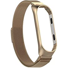 Innersetting Stainless Steel Watch Band Strap w/Frame for Xiaomi MI Band 3 L (Champagne)