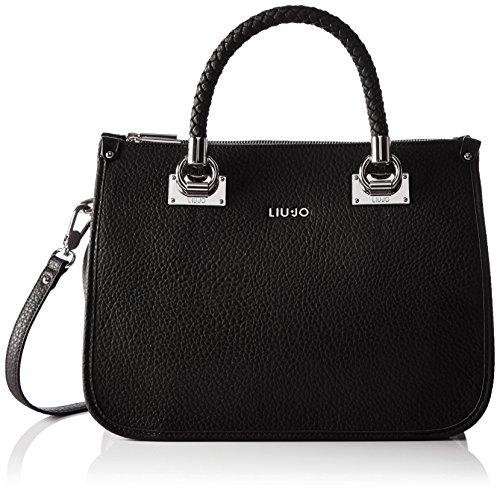 LIU JO ANNA SHOPPING BAG N66085E0011-A7560 Nero/gun metal