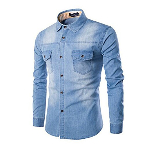 Honghu Herren Langarm Jeans Casual Hemd Hellblau