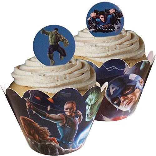(Avengers-KuchenVerpackungen und Kuchendeckel (12 KuchenVerpackungen & 12 Kuchendeckel im Lieferumfang enthalten))
