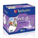 Verbatim 23942435082 DVD Rohling DVD+R 43508 16x Single Layer, InkJet Printable 10er Jewel-Hülle, 4,7GB Schwarz