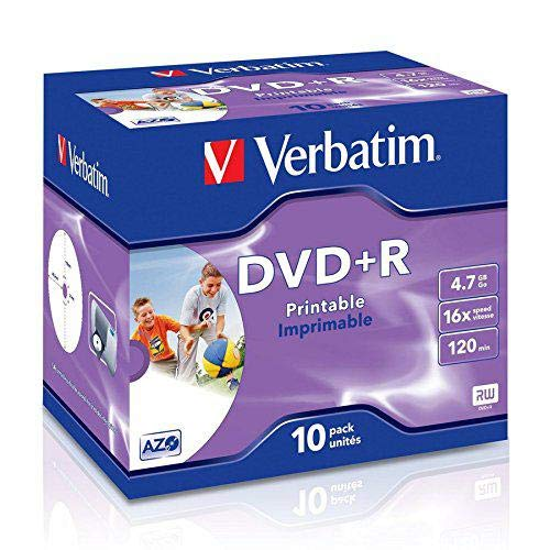 Verbatim 23942435082 DVD Rohling DVD+R 43508 16x Single Layer, InkJet Printable 10er Jewel-Hülle, 4,7GB Schwarz