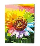 Black Temptation DIY Digital Ölgemälde Lliving Raum Landschaft Blumen Farbe Ölmalerei, Sonnenblume